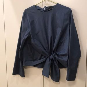Zara Blue Front tie Top Size Large